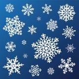 Uppsättning av snowflakes Arkivfoto