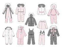 Uppsättning av snowsuits för små flickor Royaltyfri Bild