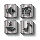 Uppsättning av sociala massmediaknappar för design. Royaltyfri Fotografi