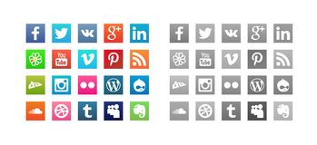 Uppsättning av sociala massmediasymboler Arkivfoton