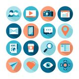 Uppsättning av sociala massmediasymboler för plan stil royaltyfri illustrationer