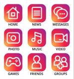 Uppsättning av sociala massmediasymboler för rengöringsdukdesign Royaltyfri Foto