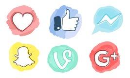 Uppsättning av sociala massmediasymboler: Facebook Google plus, vinranka, budbärare, Snapchat, som röd hjärta Royaltyfri Fotografi