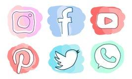 Uppsättning av sociala massmediasymboler: Instagram Facebook, Pinterest, YouTube, Twitter, WhatsApp Arkivfoto