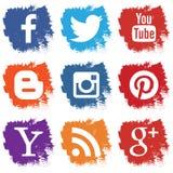 Uppsättning av sociala symboler på vit bakgrund Fotografering för Bildbyråer