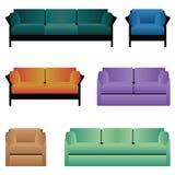 Uppsättning av sofas. royaltyfri illustrationer
