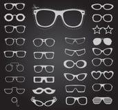 Uppsättning av solglasögon och exponeringsglas också vektor för coreldrawillustration Royaltyfri Bild