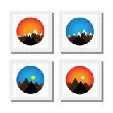 Uppsättning av solnedgången, soluppgång på bergmaxima - vektorsymboler Arkivfoto