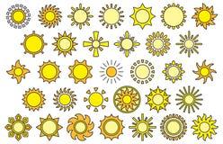Uppsättning av solrengöringsduksymboler stock illustrationer