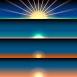 Uppsättning av soluppgång och solnedgången raster Arkivfoto
