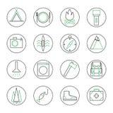 Uppsättning av 16 som campar, och turismöversiktssymboler Vektor Illustrationer