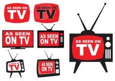 Uppsättning av som sett på TV vektor illustrationer