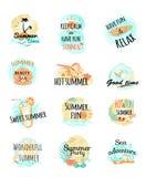 Uppsättning av sommar Logo Icons unga vuxen människa Royaltyfri Bild