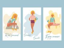 Uppsättning av sommaraffischer med nätta rullflickor royaltyfri illustrationer