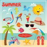 Uppsättning av sommarbeståndsdelar och illustrationer Royaltyfria Foton