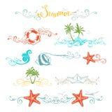 Uppsättning av sommardesignbeståndsdelar och sidagarneringar Arkivfoto