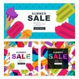 Uppsättning av sommarförsäljningsbaner med flerfärgad glass Vektorhorisontal- och fyrkantiga baner och reklamblad Royaltyfri Foto