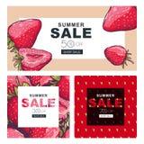 Uppsättning av sommarförsäljningsbaner med hand drog röda jordgubbar Fotografering för Bildbyråer