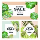 Uppsättning av sommarförsäljningsbaner med kokosnötpalmblad Vektorhorisontal- och fyrkantiga baner Sommaraffischbakgrund Royaltyfria Bilder