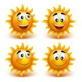 Uppsättning av sommarsolframsidan med lyckligt leende stock illustrationer