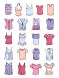 Uppsättning av sommart-skjortor och ärmlösa tröjor Royaltyfria Bilder