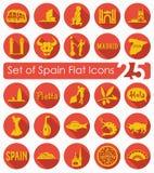 Uppsättning av Spanien symboler Arkivfoton