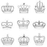 Uppsättning av 9 specificerade kronor Royaltyfri Bild