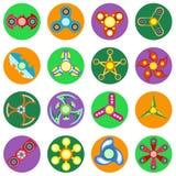 Uppsättning av 16 spinnare av olika former en plan stil Arkivfoton