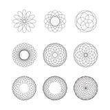 Uppsättning av spirographbeståndsdelar Samling av abstrakt begreppformer för design Royaltyfri Foto