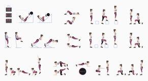 Uppsättning av sportövningar Övningar med fri vikt Övningar i en idrottshall Benelevatorer, Squats, Push-UPS, Burpee, planka, utf royaltyfri illustrationer