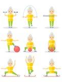 Uppsättning av sportövningen för äldre kvinnor Royaltyfri Fotografi