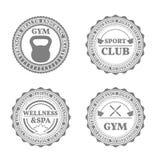 Uppsättning av sportemblem i retro stil, vektorillustration Fotografering för Bildbyråer