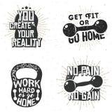 Uppsättning av sportlogoer, idrottshalletikett vektor illustrationer