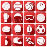 Uppsättning av sportsymboler i plan design Royaltyfri Foto