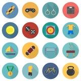 Uppsättning av sportsymboler i plan design med lång skuggadel 3 royaltyfri illustrationer