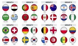 Uppsättning av sporttounamentemblemet med nationflaggan Arkivbild