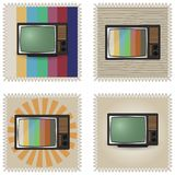 Uppsättning av stämplar med retro TV också vektor för coreldrawillustration royaltyfri illustrationer