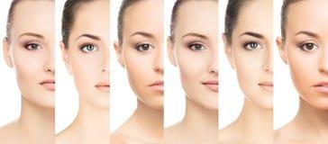 Uppsättning av stående av unga kvinnor i makeup Fotografering för Bildbyråer