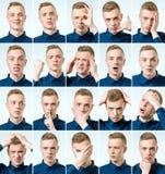 Uppsättning av stående för ` s för ung man med olik sinnesrörelser och gest Royaltyfria Bilder