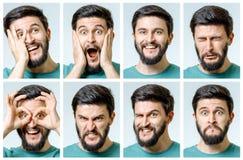 Uppsättning av stående för ` s för ung man med olika sinnesrörelser Arkivbild