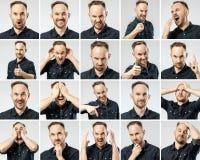 Uppsättning av stående för ` s för ung man med olika sinnesrörelser Arkivfoton