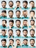 Uppsättning av stående för ` s för ung man med olika sinnesrörelser Royaltyfria Bilder