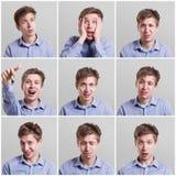 Uppsättning av stående för ` s för ung man med olika sinnesrörelser royaltyfri foto