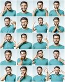 Uppsättning av stående för ` s för ung man med olika sinnesrörelser Arkivbilder