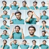 Uppsättning av stående för ` s för ung man med olika sinnesrörelser Royaltyfri Fotografi