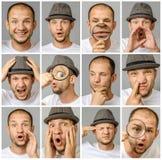 Uppsättning av stående för ` s för ung man med olika sinnesrörelser och gester arkivbilder