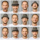 Uppsättning av stående för ` s för ung man med olika sinnesrörelser och gester arkivbild