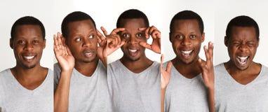 Uppsättning av stående för svart man` s med olika sinnesrörelser arkivbild