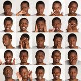 Uppsättning av stående för svart man` s med olika sinnesrörelser arkivbilder