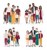 Uppsättning av ståenden för stor familj Olika nationaliteter afrikan, indier, europé, asiatisk moder, fader och fem barn royaltyfri illustrationer
